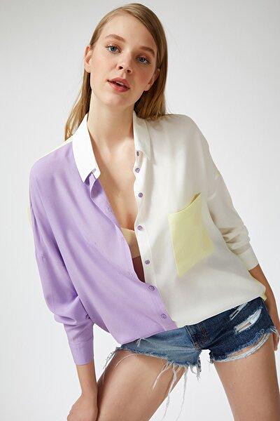 Kadın Lila Blok Renkli Oversize Viskon Gömlek DD00843