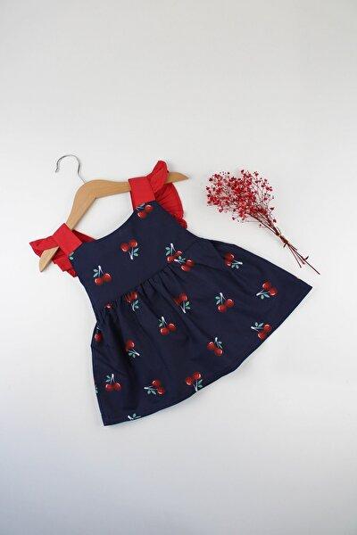 Kız Bebek Kiraz Desenli Elbise