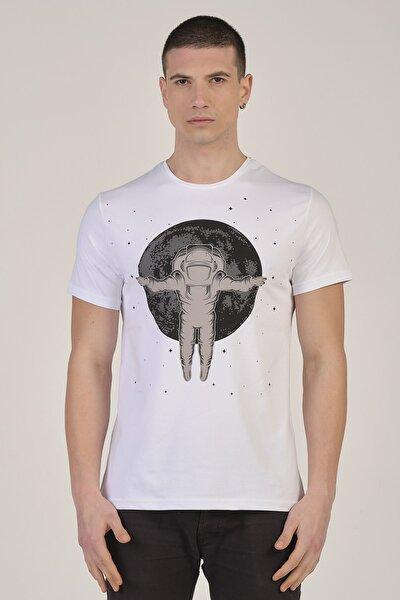 Erkek Beyaz Astronot Baskılı Bisiklet Yaka Pamuklu T-Shirt