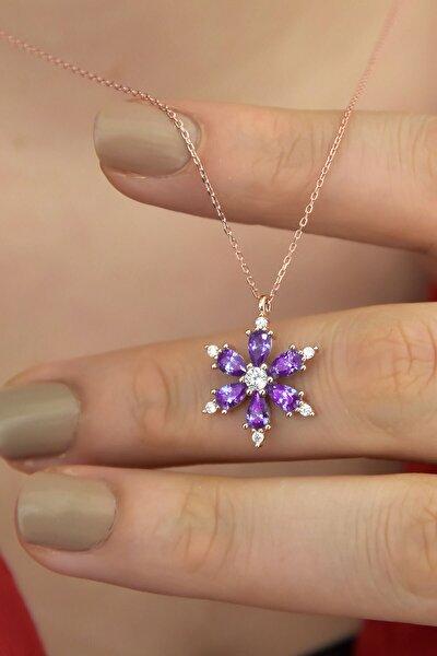 925 Ayar Gümüş Mor Taşlı Kamelya Çiçeği Kadın Kolye