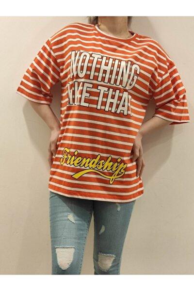 Bis Yaka Çizgili Süprem Ön Nothıng Yazılı Oversize T-shirt