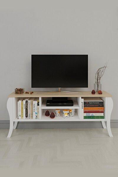 Modern Lukens Ayaklı Kapaksız Tv Ünitesi 120cm Televizyon Sehpası Meşe