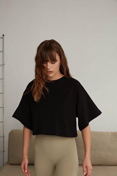 Kadın Siyah Bisiklet Yaka Oversize T-shirt