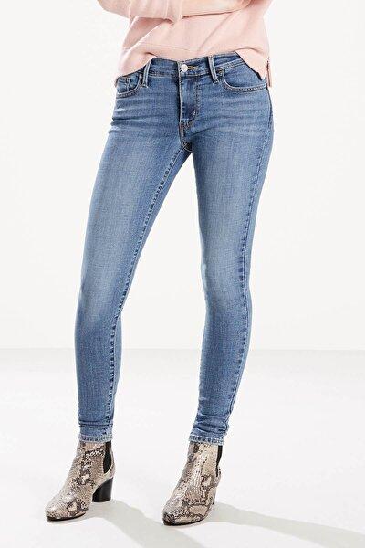Kadın Kot Pantolon Taşlanmış Mavi 17778-0166
