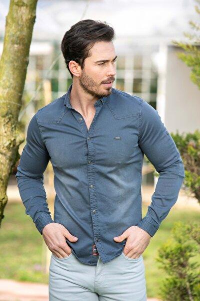 Erkek Gri Likralı Kot Gömlek N6028