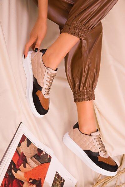 Siyah-Bej-Beyaz Kadın Sneaker 15844
