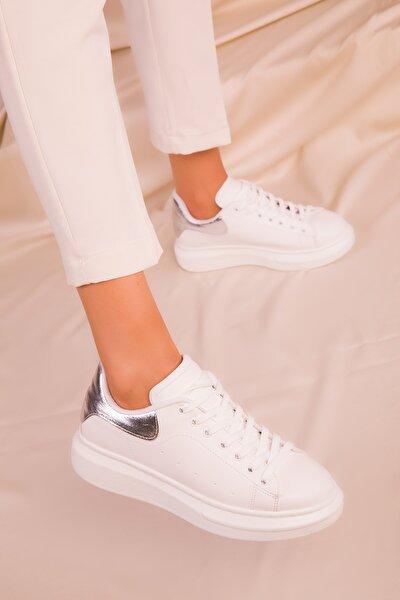 Beyaz-Gümüş Kadın Sneaker 15732