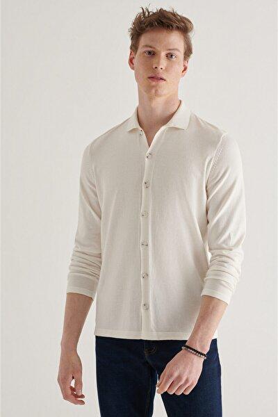 Erkek Beyaz Polo Yaka Düğmeli Düz Hırka A11y5011