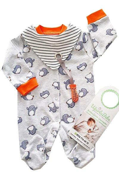 Erkek Bebek Gri Yavru Penguen Fularlı Tulum