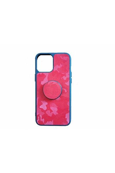Iphone11 Popsocketli Kamuflaj Deri Telefon Kılıfı