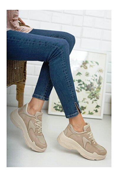 Kadın Bej Kalın Taban Sneaker