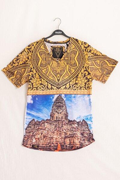 Ty18ye270153 Erkek V Yaka Mavi Desenli T-shirt