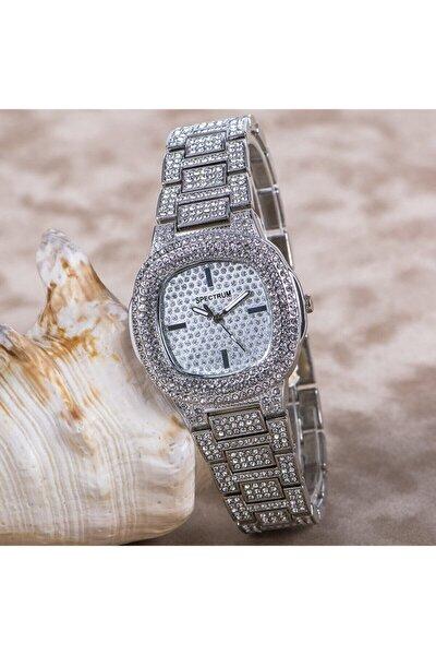Şık Dizayn Gümüş Renk Taşlı Kasa Marka Bayan Kol Saati St-303701