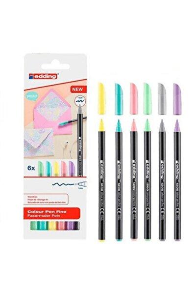 6lı Set Pastel Renkler 1200 Ince Uçlu Keçeli Kalem Grafik Kalemi