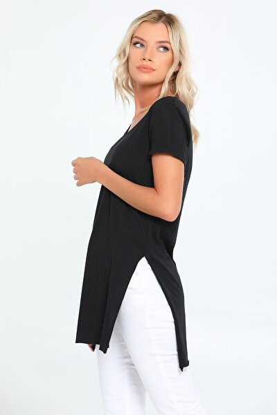 Kadın  Siyah V Yaka Yanları Yarı Dikişsiz Tunik T-shirt