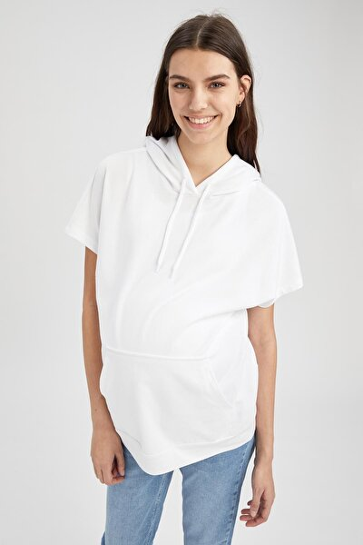 Kadın Beyaz Hamile Kanguru Cepli Kapüşonlu Kısa Kollu T-shirt
