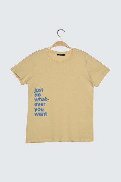 Bej Baskılı Basic Örme T-Shirt TWOSS21TS1148