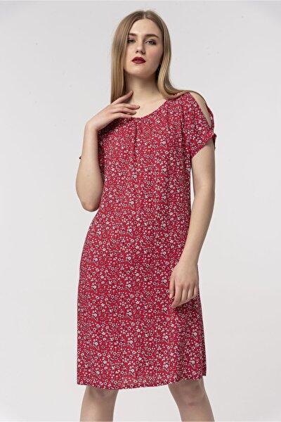 Kadın Kırmızı Rahat Kesim Desenli Viskon Elbise