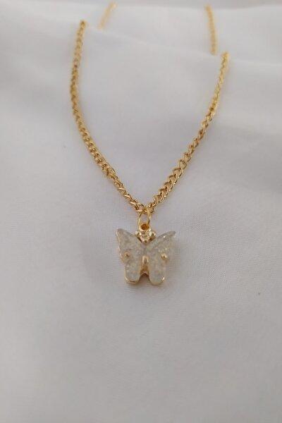 Kadın  Altın Kaplama Kelebek Figürlü Kolye