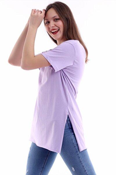 Kadın Lila V Yaka Yırtmaçlı Tişört