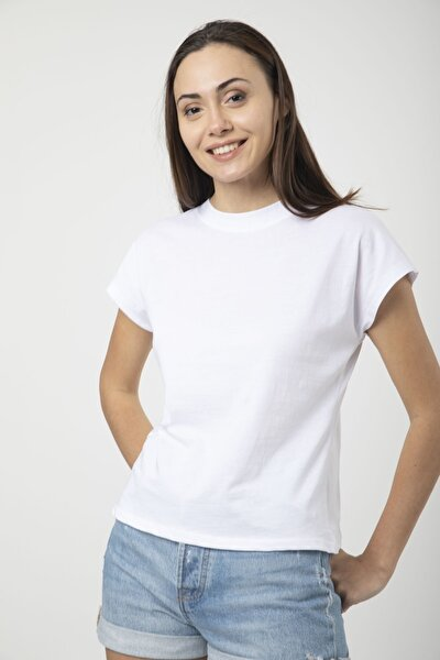 Kadın Beyaz Pamuklu Kısa Kollu Basic T-shirt