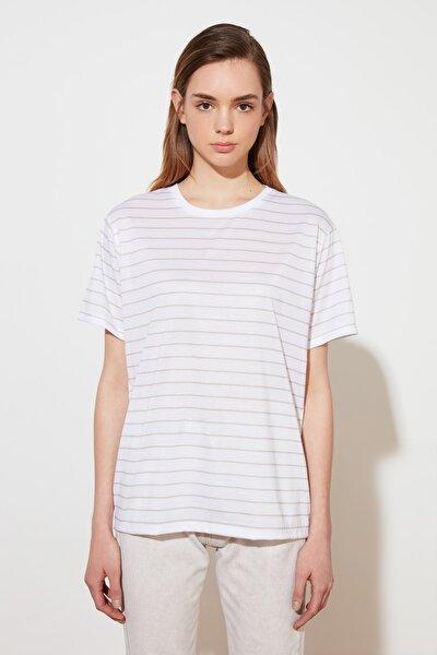Bej Boyfriend Çizgili Örme T-Shirt TWOSS21TS0901