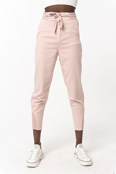 Kadın Gül Kurusu Ribanalı Pamuklu Pantolon