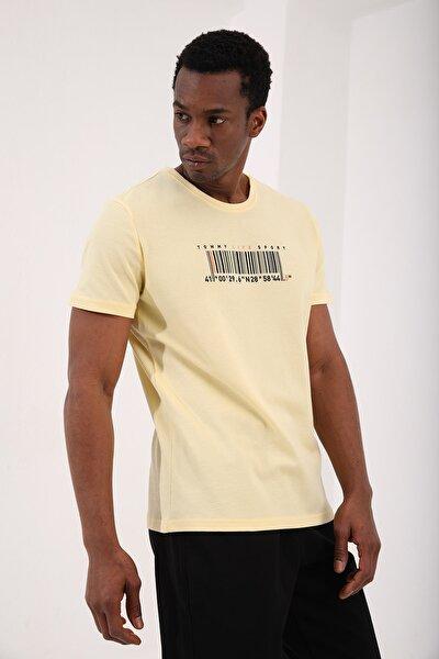 Sarı Erkek Petek Dokulu Koordinatlı Barkod Baskılı Standart Kalıp O Yaka T-shirt - 87924