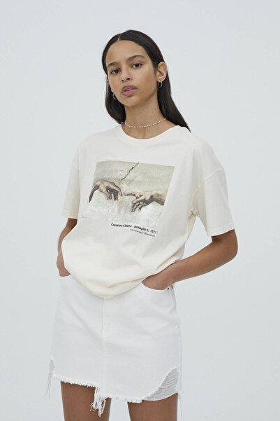 Kadın Ekru Michelangelo Sistina Şapeli Görselli T-shirt