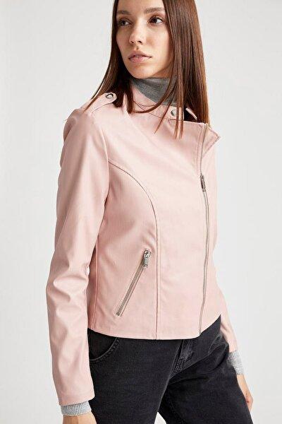 Kadın Çapraz Fermuar Detaylı Suni Deri Ceket  R9776AZ21SP