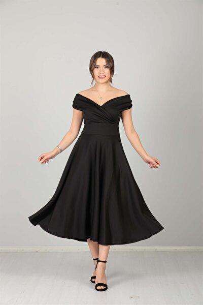 Kayık Yaka Midi Elbise - Siyah