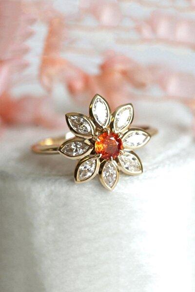 14k Rose Gold Kaplama Güz Nergisi Çiçeği Zirkon Taşlı Yüzük