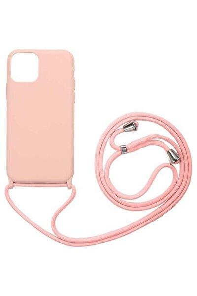 Apple Iphone 11 Pro Kılıf Içi Süet Ipli Askılı Lansman Silikon Pembe