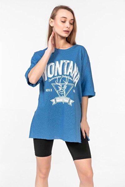 Montana Baskılı Duble Kol T-shirt