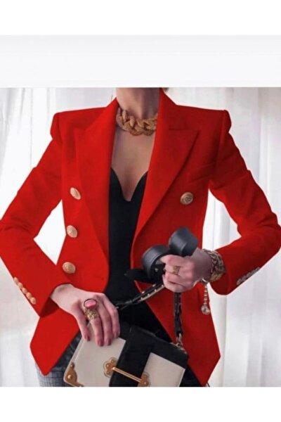 Kadın Kırmızı Blazer Ceket