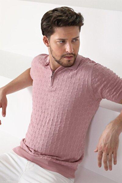 Erkek Pembe  Fermuarlı Pamuk Triko Polo Yaka Tshirt