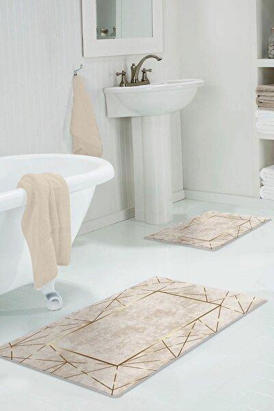 60x90 - 50x60 Alya Gold Dijital Banyo Halısı Klozet Takımı 2'li Paspas Seti Püsküllü
