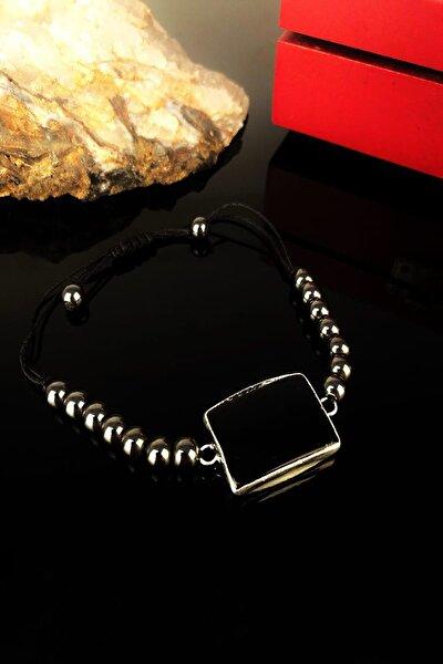 Kadın Oniks ve Hematit Taşı Gümüş Kaplama Bileklik KRB290