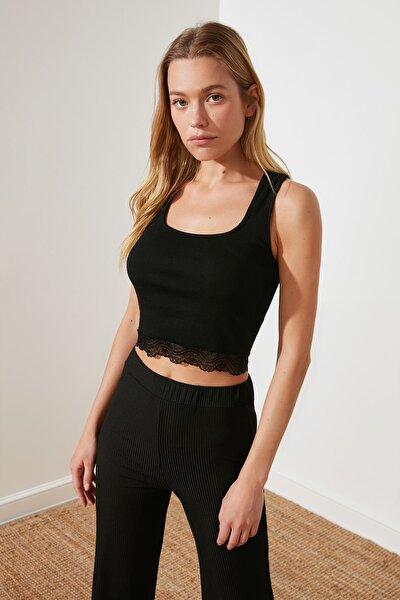 Siyah Dantel Şeritli Örme Bluz TWOSS21BZ1761