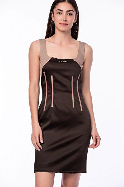 Kadın Kahve Dar Kesim Elbise M18121090647