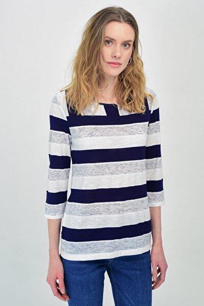 Kadın Lacivert-Beyaz Çizgili Çizgili Basic Tshırt Hn1321