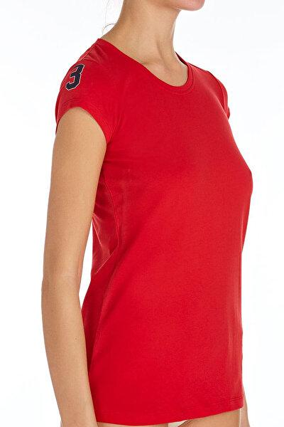 Kadın Kırmızı O Yaka T-shirt U.S 01.66054