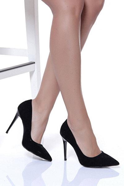 Siyah Süet Kadın Topuklu Ayakkabı 18Y 708