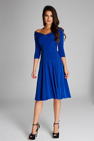 Kadın Saks Omuz Dekolteli Elbise 13K020-L