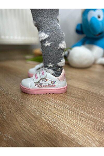 Kız Çocuk Beyaz Unicorn Desenli Cırtlı Spor Ayakkabı