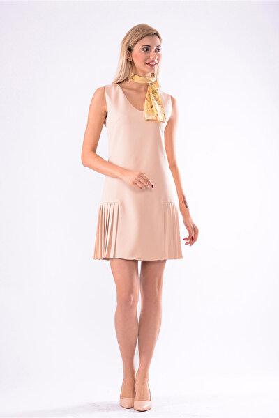 Kadın Acık Bej V Yaka Kolsuz Pileli Elbise 5246-891
