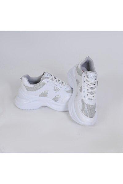 441 Bağlı Beyaz-gümüş Simli Çupra Anoraklı Spor Ayakkabı