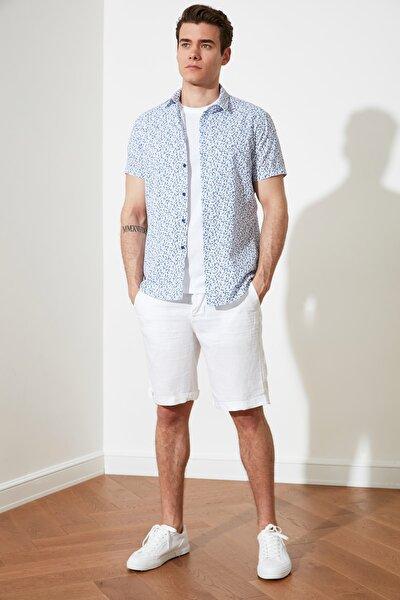 Beyaz Erkek Slim Fit Kısa Kol Gömlek Yaka Gömlek TMNSS21GO0888