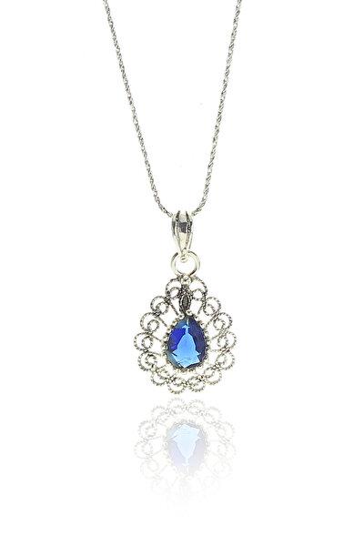 Kadın Gümüş Telkari Modeli Safir Taşlı Damla Kolye SGTL9120