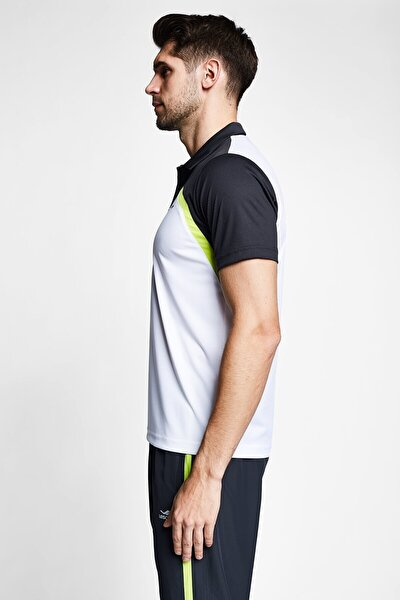Erkek  Beyaz Antrasit Kısa Kollu Polo Yaka T-shirt 21b-1033
